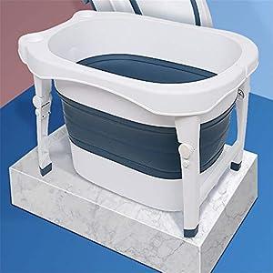 HAOZHI Bañera para bebés, bañera Plegable para bebés, bañera Multifuncional para bebés, portátil Plegable - con tubería de Agua de 1 Metro + Taburete pequeño - Multicolor