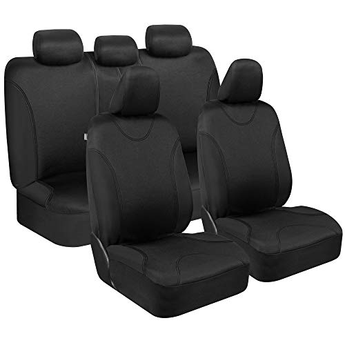 BDK UltraSleek Car Seat Covers, Full Set in Black – Front and Rear Bench Protector Set, Easy to Install with Two-Tone Accent, Universal Fit for Auto Truck Van SUV