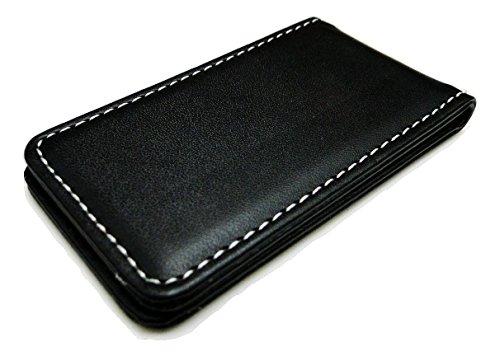 Fine Leather Magnetic Money Clip - Black