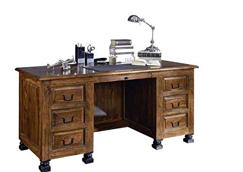 MASSIVMOEBEL24.DE Kolonialstil Sheesham massiv Holz Möbel Schreibtisch Palisander vollmassiv lackiert Massivmöbel New Boston #206