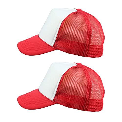 ImpecGear 2 Packs Youth Cap Kid's Baseball Caps Trucker Hats Summer Mesh Cap (2 for Price of 1) (Red/White)