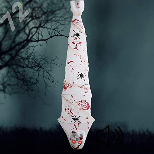 Aytai 72' Scary Halloween Decorations Outdoor, Yelling Halloween Props Ghost Hanging Decor with Skull Red Flashing Eyes, Large Spider and Bloodstains, Perfect for Halloween Indoor Outdoor Home Decor