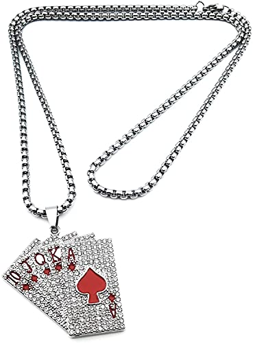 ZJJZ Crystal Straight Flush Collar Straight Flush Tarjeta Pik Amuleto Collar Casino Juego de Afortunado Joyas Regalo, rojo, Einheitsgröße