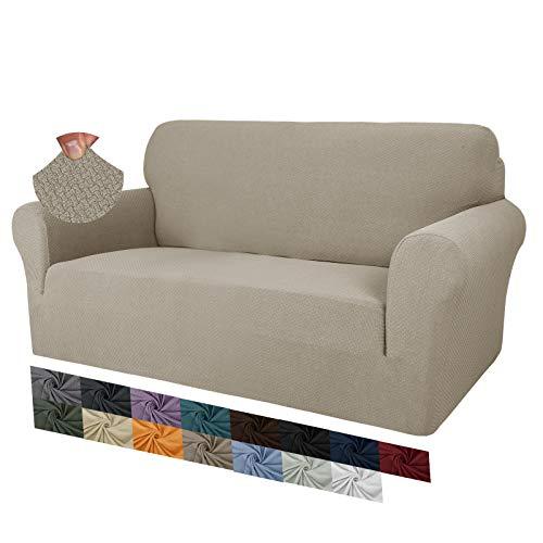 MAXIJIN Fodere per divano jacquard creative per 2 posti, 1 pezzo copridivano antiscivolo super elasticizzato per divano per cani protezione per mobili per animali domestici (2 Posti, Cachi)