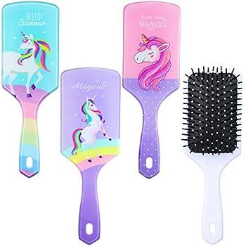 3 Pieces Detangling Hairbrush Unicorn Plastic Massage Comb Paddle Hair Brush Unicorn Hair Detangler Brush for Women Girls Curly Straight Long Thin Soft Natural or Short Hair  Vivid Pattern
