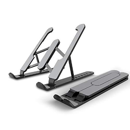 HUICHENG Soporte Portátil Soporte Portátil Plegable de Aluminio Soporte para Portátil Base Ajustable para Tablet para PC Macbook Pro Soporte de Refrigeración Ventilado (Negro Pro (ABS + Aluminio)