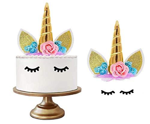 Einhorn-Kuchen-Hut, handgemachte Blume Einhorn Horn Ohren und Blume und Wimpern Set Einhorn Dekoration, verwendet für Babyparty, Hochzeit und Geburtstag Party (Gold)