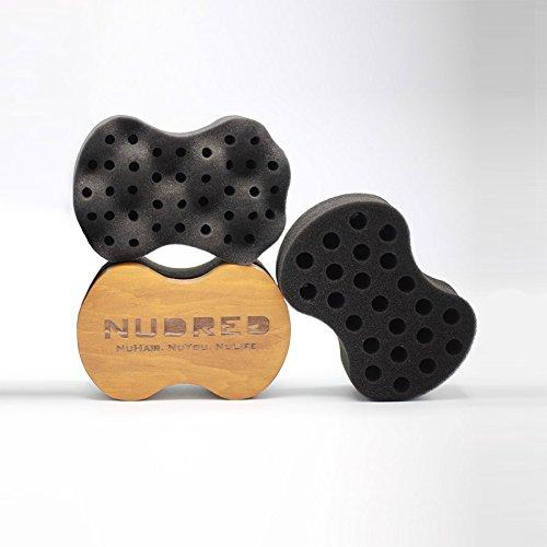 NuDred Wooden Sponge Brush, for Coils, Curls, and Twists, Interchangable Sponges