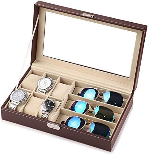 Funda de almohada para guardar gafas con 6/3 ranuras de piel de alta gama, para hombre y mujer, resistente reloj y caja de almacenamiento grande para joyas
