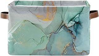 Doshine Panier de rangement pliable en marbre bleu sarcelle turquoise abstrait avec poignées, grand cube de rangement pour...