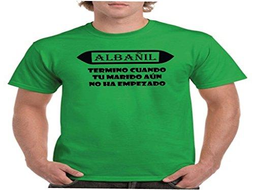 Camisetas divertidas Child Albañil, termino Cuando Tu Marido Aun No Ha empezado - Para Hombre Camisetas Talla Large Color Verde