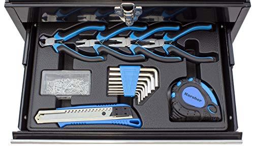 Karcher Werkzeugkasten - 117-teiliges Werkzeugset aus Chrom Vanadium & Karbonstahl mit Hammer, Schraubendreher, Steckschlüssel, Bitsatz uvm. - 7