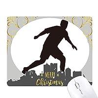 サッカーのスポーツのシルエット クリスマスイブのゴムマウスパッド
