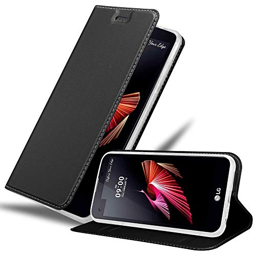 Cadorabo Hülle für LG X Screen in Classy SCHWARZ – Handyhülle mit Magnetverschluss, Standfunktion & Kartenfach – Case Cover Schutzhülle Etui Tasche Book Klapp Style