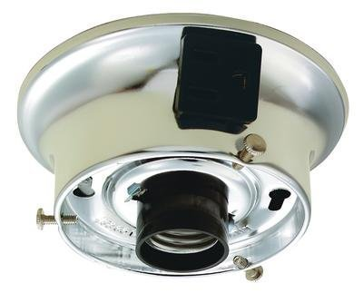 "Westinghouse Glass Shade Wired Ceiling Holder Kit 3 1/4"" Fitter Chrome Finish Fixture with Receptacle"