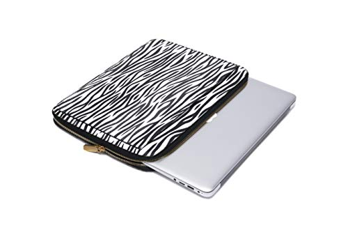 Daisy Rose Protective Laptop Sleeve Case for 13 Inch Laptop with Slip Pocket - Luxury PU Vegan Leather Shock Absorbant Hard Case for Work and School - Zebra