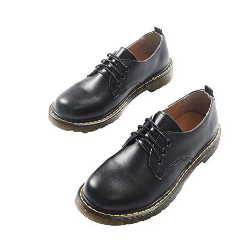 HHXXTTXS Autumn and Winter British Small Leather Shoes Black Flat College Retro Single Shoes Low-Top Martin Shoes Soft Sister Shoes