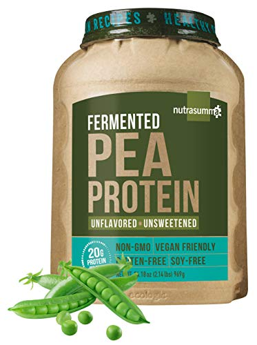 Nutrasumma 100% Plant Based Fermented Pea Protein Powder, Unflavored and Unsweetened, 2.14lbs - North American Sourced Peas - Vegan, Non-GMO, Gluten & Soy Free, No Artificial Flavors and Colors