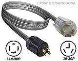 getwiredusa Generator L14-30P Twist Lock 4-Pin Plug to 10-30P 3-Prong Dryer Plug NEMA Electric Power Back Feed Adapter 3FT