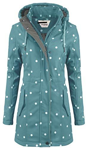 ODYSSEE Damen Softshell Mantel gepunktet Parka Jacke Kapuze Outdoor Übergang, Größe:M, Farbe:Mint grün