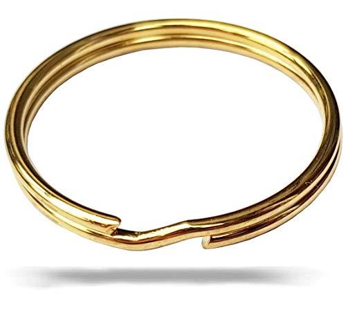 FUCHS Schlüsselringe 30mm 10 Stück - gehärteter Stahl - goldfarben - Ringe für Schlüssel, Schlüsselanhänger, Taschenmesser, Auto, Bürobedarf, Basteln, Paracord, Lederband - Schlüsselring set