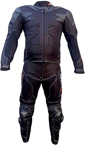 BI ESSE Tuta da MOTO per adulto in pelle e tessuto, divisibile in 2 pezzi giacca e pantalone, regolabile, completa di protezioni CE (Nero, 4XL)