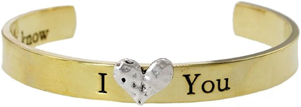 Occasions Gift Giving Goldtone I Heart You Cuff Bracelet
