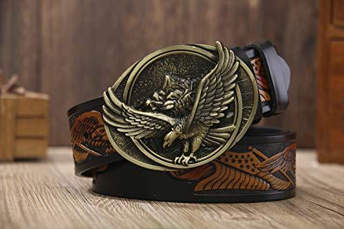 WeeLion Männer Casual Gürtel, runde Schnalle Adler Bronzeplatte Schnalle/Fashion Band (Länge 110-130cm),Schwarz,130cm