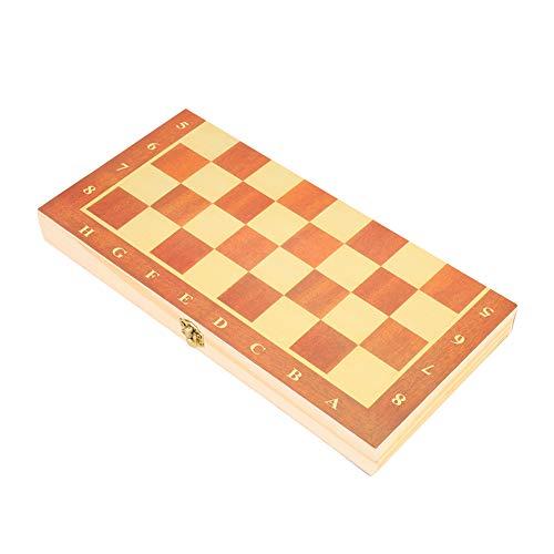 Juego de ajedrez de Madera de Tablero de ajedrez, Plegable portátil Grandes Actividades para familias Viajar a la Escuela en casa