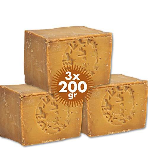 Pure Now Aleppo Seife 3 x ca 200g, 85% Olivenöl 15% Lorbeeröl, PH Neutral, Detox Handmade nach Rezeptur wie vor 1000 Jahren