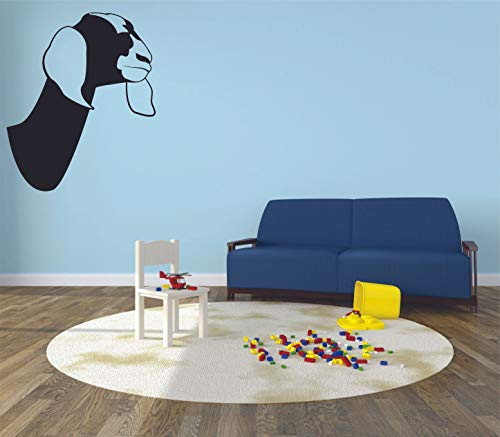Goat Head Silhouette Dildos Tiere Cartoon Wall Sticker Kunst Decal for Girls Boys Room Bedroom Kindergarten Haus Fun Home Decor Wandaufkleber Vinyl Dekoration Größe 30 x 27 Zoll