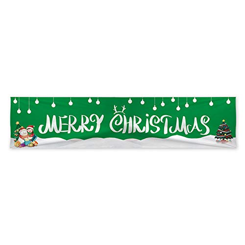 Shan-S Christmas Banner Holiday Party Decoration Hanging Flag Background Cloth Banner Flag Home Decor Door Banner Hanging Xmas Decorations Sign