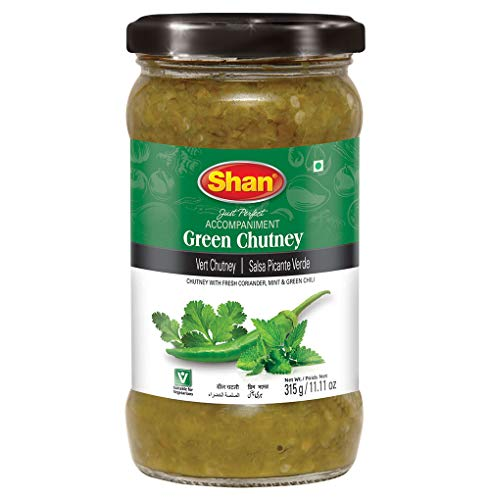 Shan Green Chutney 11.11 oz (315g) - Tasty Accompaniment from Fresh Coriander, Mint and Green Chillies - Delicious Zestful Dipping Sauce - Suitable for Vegetarians - Airtight Glass Jar