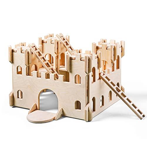 Lovelties Schloss Ritterburg Holz Bausatz - Kinder Holzspielzeug Burg für Spielzeug, Puppen & Figuren - Spielburg zum Selberbauen - Nachhaltig Unbehandeltes Birkensperrholz - 38 x 33,5 x 23 cm