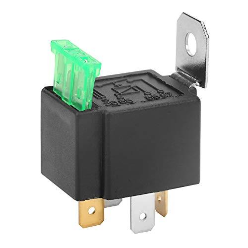 Relé para automóvil, negro 4 pines DC 12V 30A Contactos normalmente abiertos para automóvil Relé con fusible activado/desactivado con herramienta de relé de soporte Relé con fusible automotriz