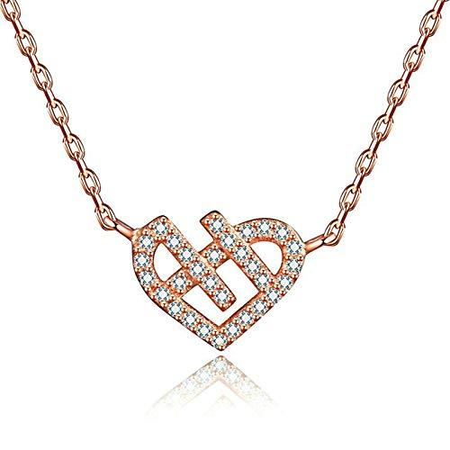 AueDsa Colgante Collar Plata de Ley 925 Mujer Collar Oro Rosa Corazón Circonita Blanca