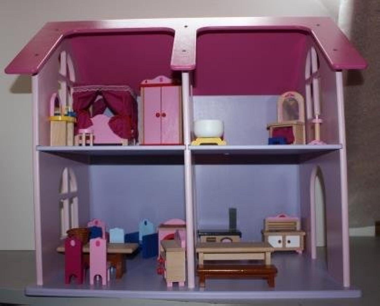 Puppenhaus mit Einrichtung aus stabilem Holz 60 cm breit, 40 cm tief, 57 cm hoch
