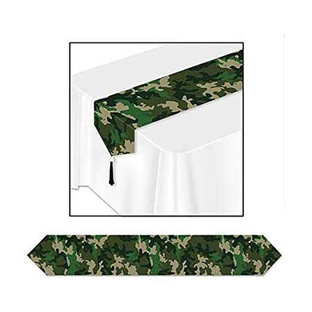 Amazon Com Pack Of 12 Green Camo Table Runner Party Decorations 72 Kitchen Dining