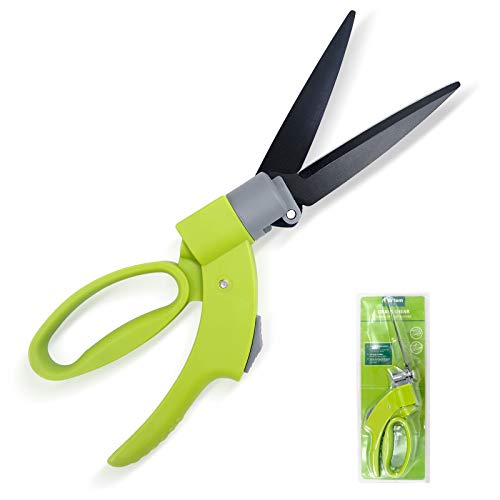 Hortem Grass Shears, Manual Grass Clippers for Swiveling 360 Degrees Trimming, Lightweight Garden Clippers with Sharp Blades