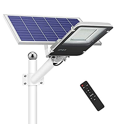 120W Solar Street Lights Outdoor, Dusk to Dawn Solar Led Outdoor Light with Remote Control, 6500K Daylight White Security Led Flood Light for Yard, Garden, Street, Playgroud