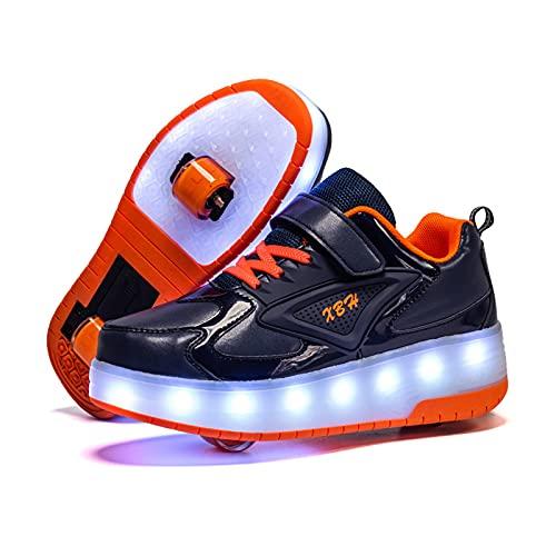 AMXSML Zapatillas de patinaje con luces LED para niños y niñas, con ruedas dobles, intermitentes, luminosas y técnicas, con carga USB, multideporte, para correr, gimnasia, color azul, 33EU