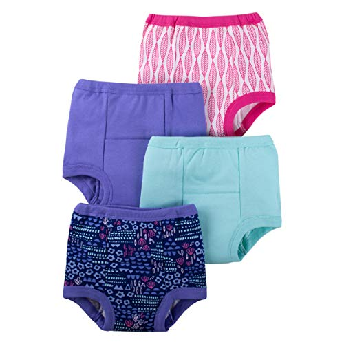 Lamaze Organic Baby Girls' Baby Reusable and Washable Toddler Potty Training Pants, Cotton Cloth, 4 Pack, Purple/Pink/Flower, 18 Months
