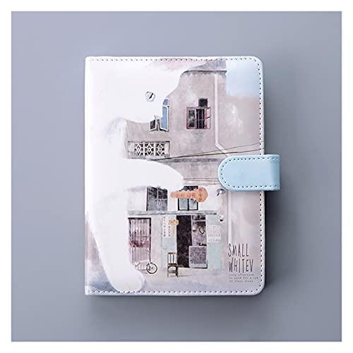 WANGYIYI Cuaderno de Estudiante Creativo Diarios de Tapa Dura de PU Bloc de Notas Recargable de Color Inside Pages Diario de Cerrojo con botón y Lazo para bolígrafo para Office Home (Color : B)