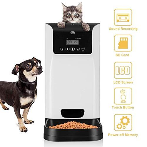 ETH Alimentador de Mascotas Alimentador automático para Perros 6L Grabadora de Voz y función de sincronización del Altavoz 110-240v Adaptador de Corriente AU Plug Durable