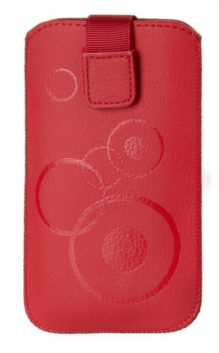 Handytasche Circle rot passend für HTC Desire 526G Dual Sim Handy Schutz Hülle Slim Case Cover Etui rot mit Klettverschluss