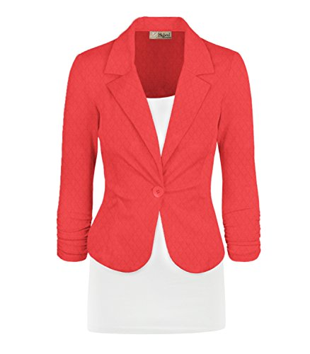 Women's Casual Work Office Blazer Jacket JK1131 E8400 Coral 3X
