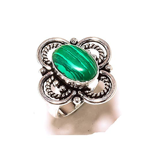 Shivi Green Malachite! Ring Size 7.5 US, Fashion Next Level! Sterling Silver Plated, Handmade! Jewelry from
