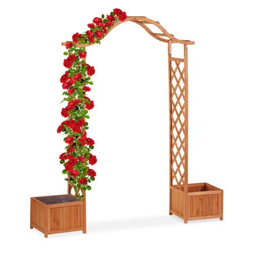 Relaxdays Holz-Rosenbogen, dekorativer Gartenbogen, 2 Pflanzkübel, wetterfestes Rankgitter, 209 x 181 x 60 cm, orange