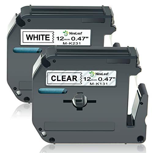 NineLeaf 2 Pack Compatible for Brother P-Touch M Tape MK131 MK231 M-K231 M231 Black on Clear/White Label Tape 1/2'' 0.47 inch (12mm) x 26.2 ft 8m Work with PT-M95 PT-90 PT-70BM PT-65 PT-85 Label Maker