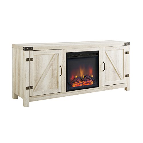 Walker Edison Georgetown Modern Farmhouse Double Barn Door Fireplace TV Stand for TVs up to 65 Inches, 58 Inch, White Oak